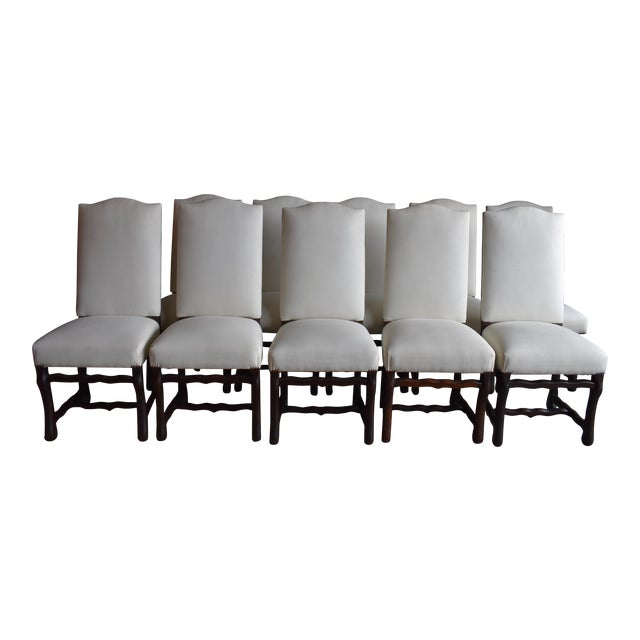 1940s French Provincial Upholstered Os De Mouton Dining Chairs - Set of 10 For Sale
