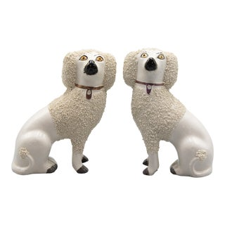 Antique English Staffordshire Poodles Figurines - a Pair For Sale
