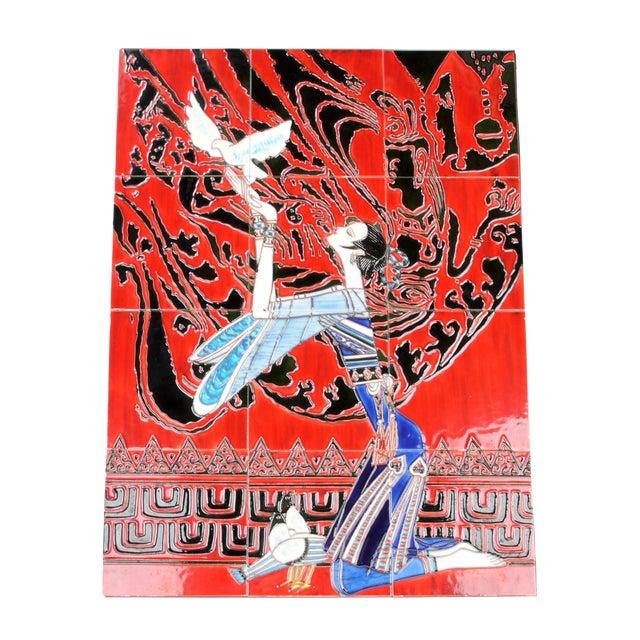 Geisha Tile Wall Art Plaque For Sale