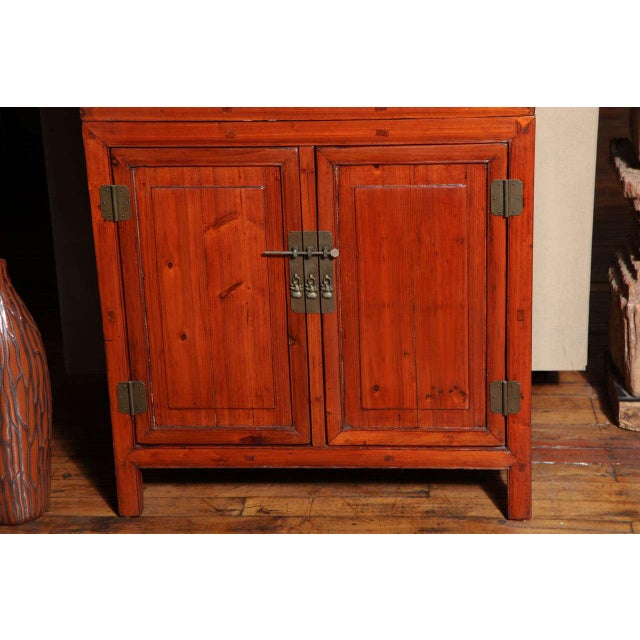 Asian Tall 19th Century Chinese Kitchen Cabinet With Fretwork Upper Doors For Sale - Image 3 of 11
