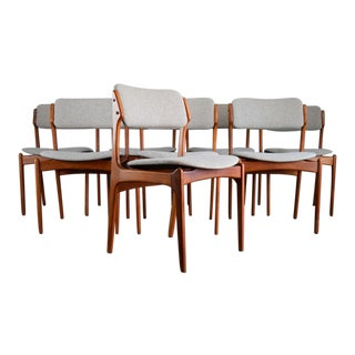 Iconic 'Floating Seat' Teak Dining Chairs by Erik Buch, Restored For Sale