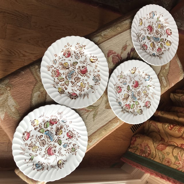 Johnson Brothers 4 Staffordshire Bouquet England Ironstone Dinner Plates For Sale - Image 4 of 5