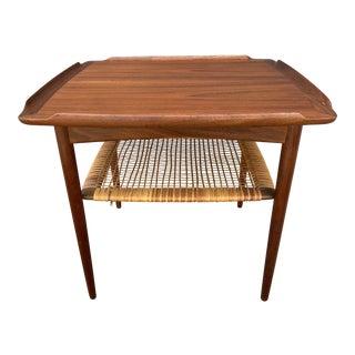Danish Poul Jensen for Selig Teak + Woven Cane Side Table For Sale