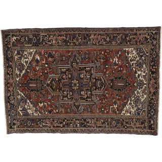 Vintage Persian Heriz Rug- 7′5″ × 10′9″ For Sale