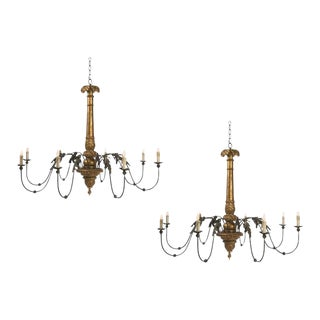 Two Giltwood and Tole Eight-Arm Chandeliers of Large Scale For Sale