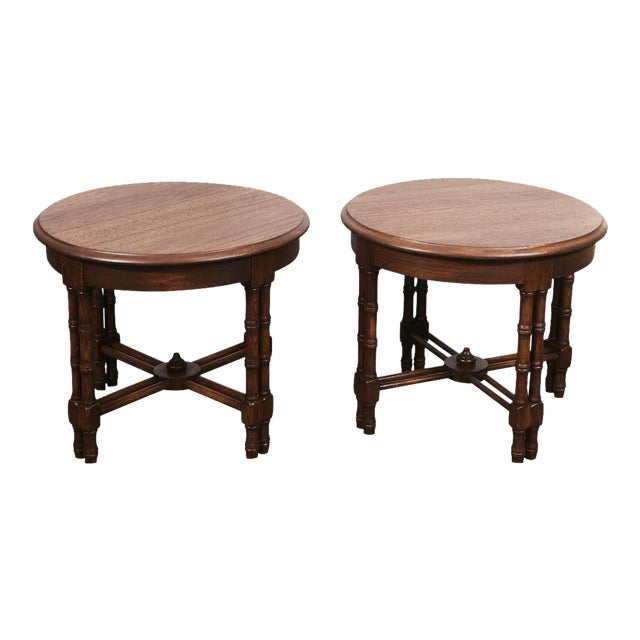 Pair Mid-Century Faux Bamboo Side Tables For Sale