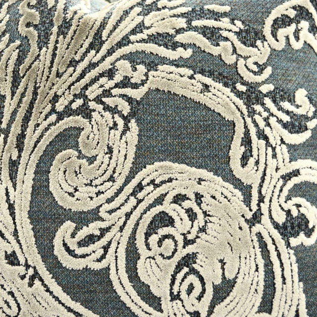 Contemporary FirmaMenta Italian Damask Velvet Forest Green and Gray Leaf Pillow For Sale - Image 3 of 5