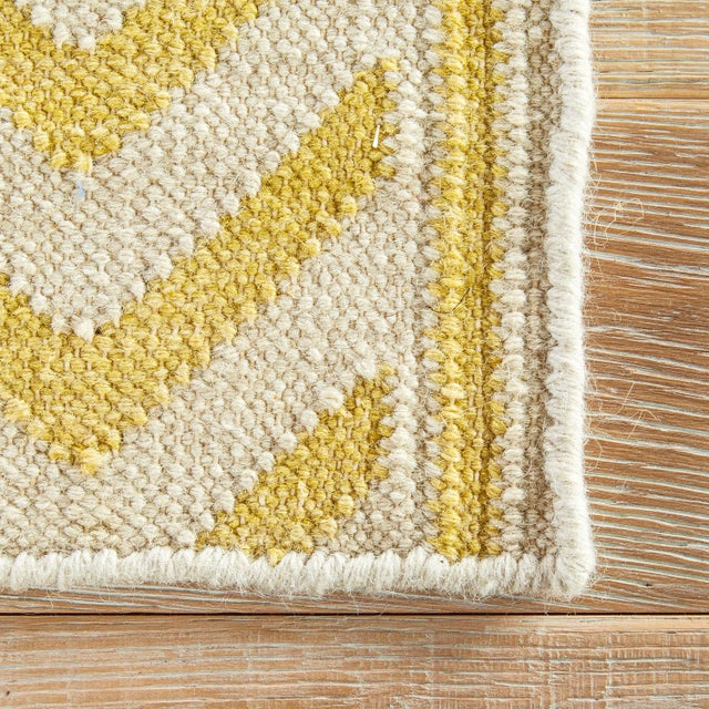 Jaipur Living Farid Handmade Ikat Yellow/ Cream Runner Rug - 2′6″ × 8′ For Sale - Image 4 of 6