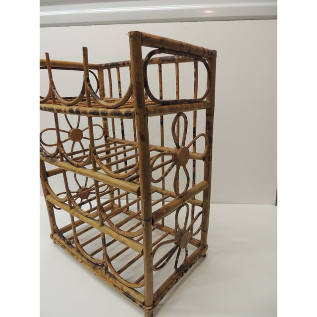 Vintage Faux Tortoise Bamboo Wine Rack For Sale In Miami - Image 6 of 7