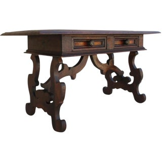 Spanish Revival Antique Two Drawer Coffee Table Bench For Sale