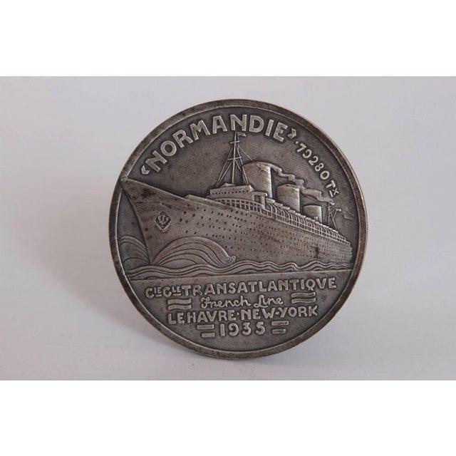 Art Deco French Normandie medallion by Jean Vernon silvered bronze Iconic Jean Vernon Normandie maiden voyage Medallion,...