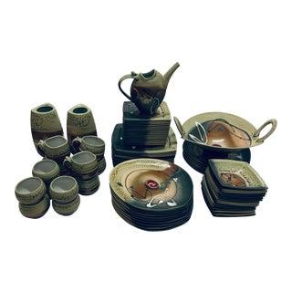 Vintage Loren Lukens Signed Studio Pottery - Set of 78 For Sale