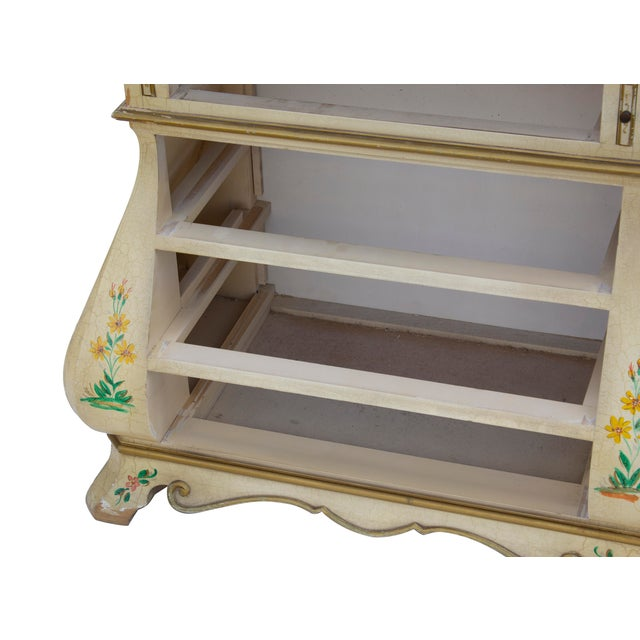 Baker Furniture Company Cream Crackle Glaze Handpainted Chinoiserie Secretary For Sale - Image 4 of 8