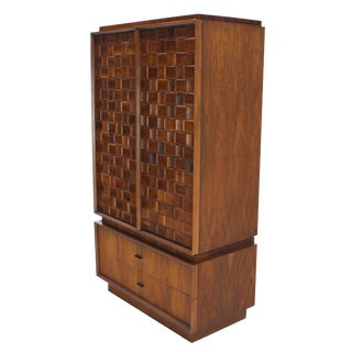 Oiled Walnut Carved Patch Work Doors Two Part High Chest Chifforobe Cabinet For Sale