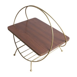 Mid-Century Modern Brass and Wood Magazine Rack