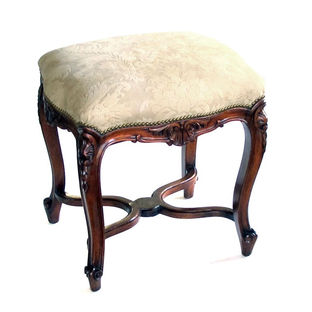 Animal Skin An Elegant French Regence Style Carved Walnut Serpentine-Shaped Stool With Cut-Suede Upholstery For Sale - Image 7 of 7