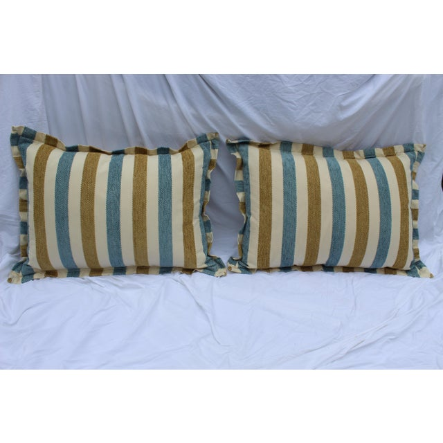 Contemporary Striped Silk DownContemporary Striped Silk Down Pillows - a Pair For Sale - Image 12 of 13