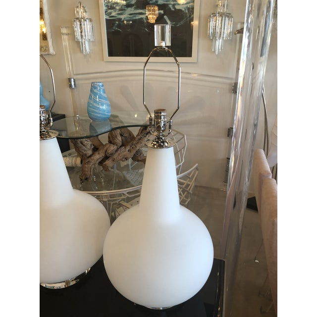 Chrome Vintage Murano Frosted Glass Chrome Lucite Table Lamps - A Pair For Sale - Image 7 of 11