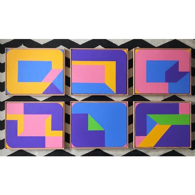 Colorful Post Modern Hard Edge Abstract Set of Six Framed Original Paintings For Sale - Image 9 of 9