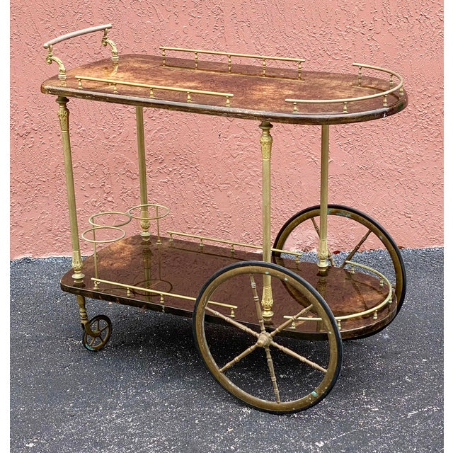 Vintage Aldo Tura Goatskin Bar Cart For Sale - Image 11 of 13