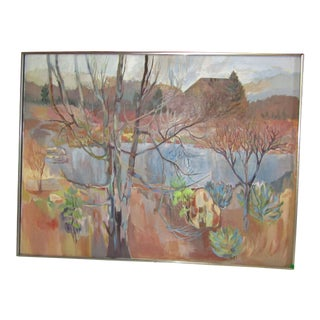 Large Landscape Original Painting, Signed 1980s