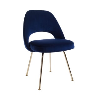 Original Vintage Saarinen Executive Armless Chair Restored in Navy Velvet, Custom 24k Gold Edition For Sale