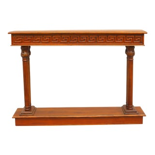 Vintage Cherry Console Table With Greek Key Carving For Sale