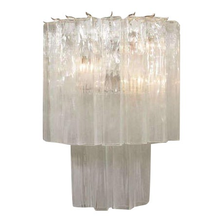 """A dazzling pair of Murano glass """"waterfall"""" sconces with square glass tubes hanging in two tiers."""