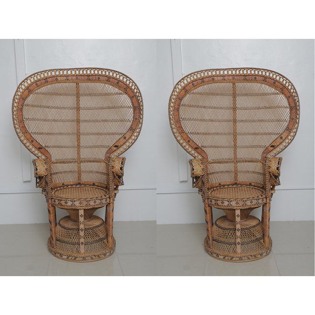 Superb Pair of Peacock Vintage Rattan Chairs For Sale In West Palm - Image 6 of 6