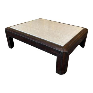 Leather and Travertine Cocktail Table For Sale