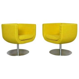 B&B Italia Contemporary Modern Yellow Tulip Chrome Swivel Chairs - a Pair For Sale