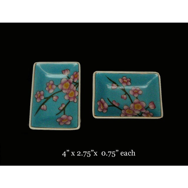 Quality Asian Artist Hand Painted Porcelain Rectangular Display Dishes - a Pair For Sale - Image 4 of 5