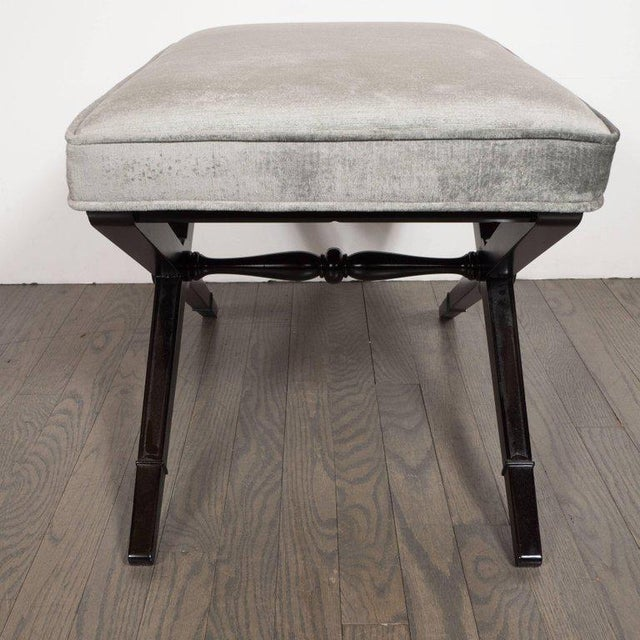 Pair of Mid-Century Modern X-Form Benches in Ebonized Walnut and Platinum Velvet For Sale - Image 4 of 8