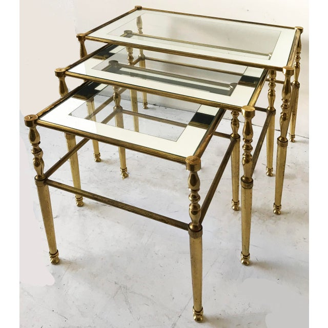 Neoclassical Vintage French Set of 3 Nesting tables by Maison Jansen For Sale - Image 3 of 4