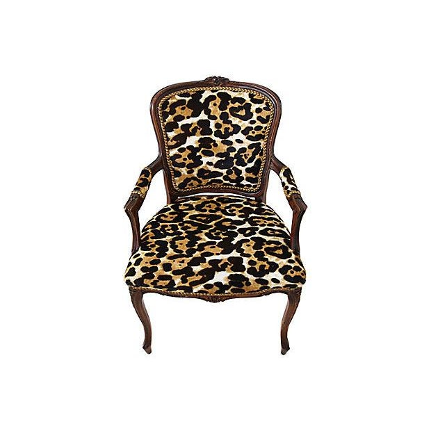 Carved Armchair W/ Cowhide Animal Spots For Sale - Image 4 of 12