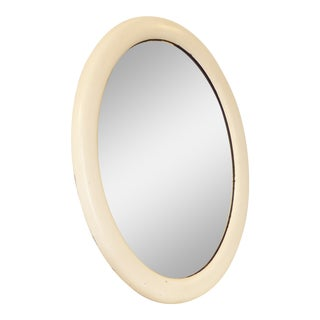 19th Century American Oval White Mirror For Sale