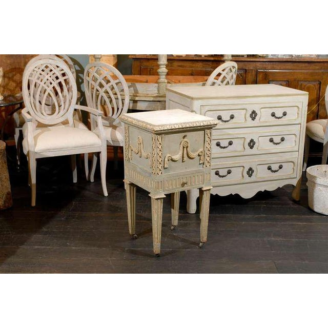 French Drop-Front Nightstand Table on Casters and Marble Top For Sale - Image 4 of 11