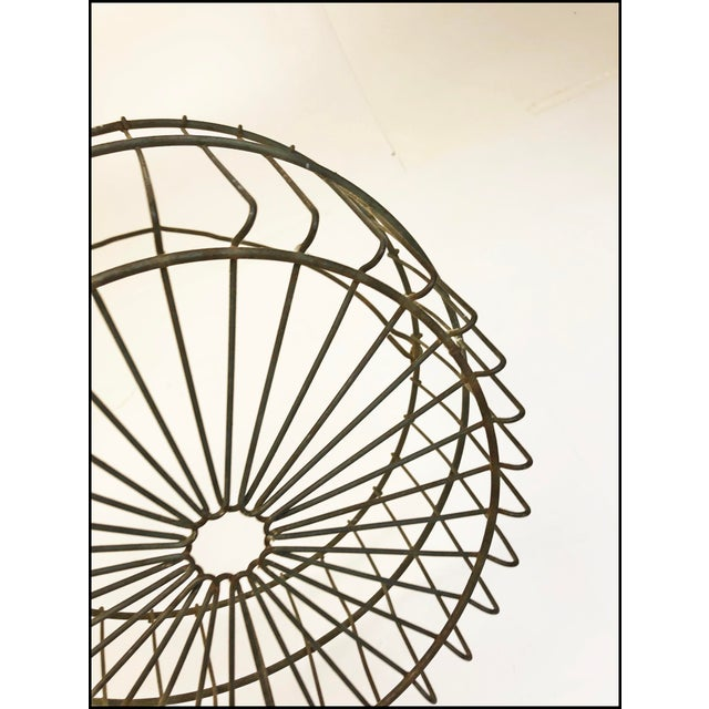 Vintage Rustic Wire Metal Egg Basket With Handle For Sale - Image 6 of 10