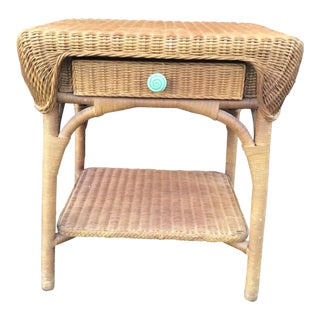 Hickory Chair Wicker End Table/ Nightstand