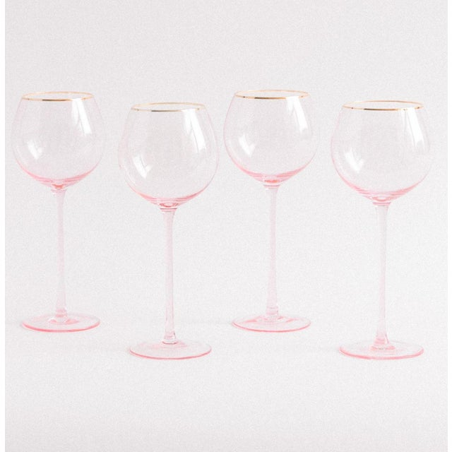 Siren Beverageware Rosewater + Gold White Wine - Set of 4 For Sale - Image 4 of 4
