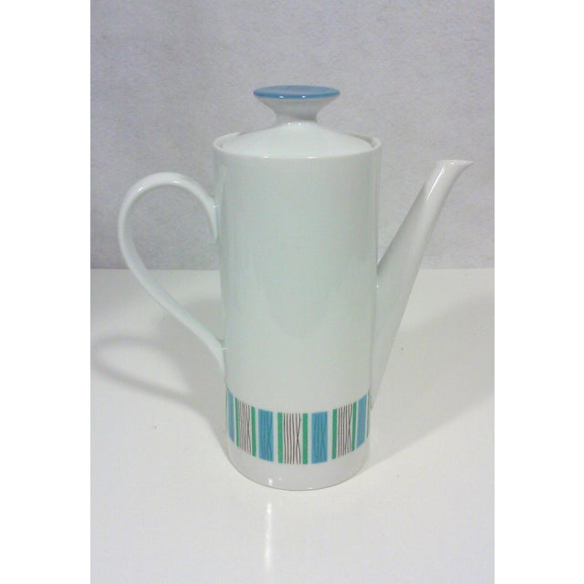 Danish Modern Mid-Century Blue and White Porcelain Coffee Pot For Sale - Image 3 of 4