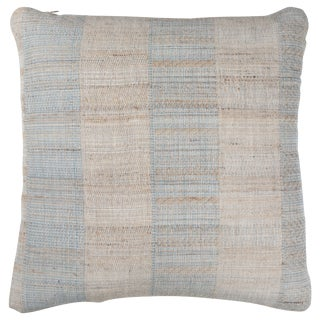 Indian Handwoven Tan and Light Blue Pillow For Sale