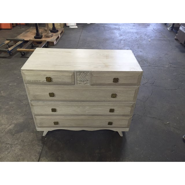 Circa 1920's with new limed finish and great four leaf clover drawer pulls.