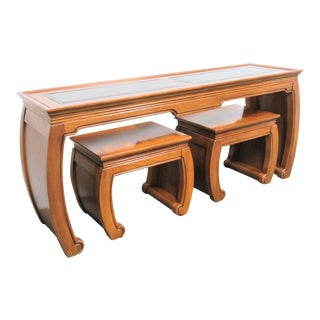 Thomasville Asian Design Console Table and 2 Stools - 3 Pieces For Sale