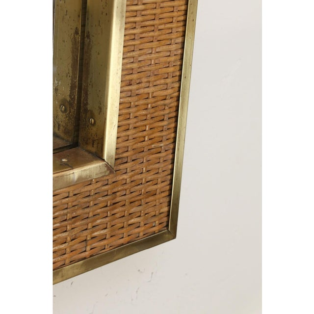 Gold Two Large French Braided Rattan Frame Mirrors For Sale - Image 8 of 10