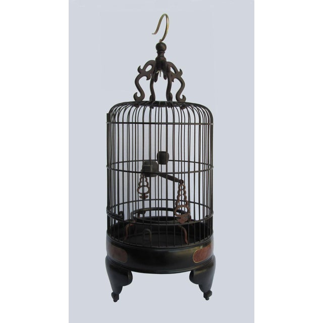 Chinese Handmade Rosewood & Burgh Wood Gold Line Inlay Round Birdcage For Sale - Image 4 of 6