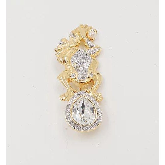 1980s 1980s Valentino Pavé Rhinestone Frog Pin For Sale - Image 5 of 7