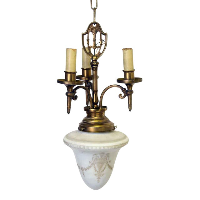 Tulip Glass Pendant Light With a Three Arm Brass Frame For Sale