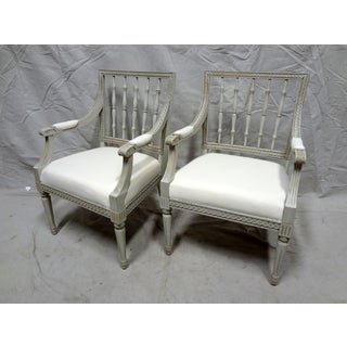 Slatted Back Swedish Arm Chairs - a Pair Preview