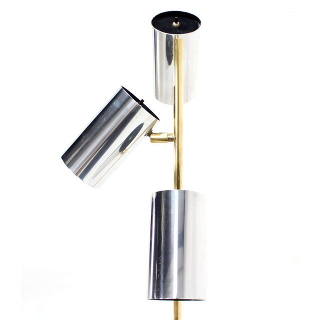 Mid-Century Modern Midcentury Brass Base Floor Lamp with Three Fully Adjustable Chrome Shades For Sale - Image 3 of 6